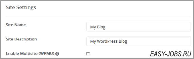 Site Settings Wordpress Регру