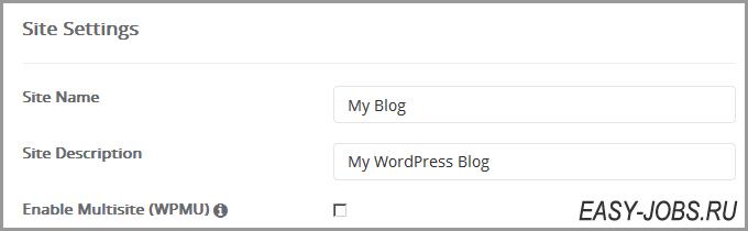 Site Settings Wordpress Регру