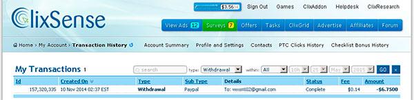 Скрин выплаты с букса ClixSense